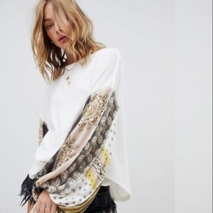 Free People Blossom Thermal Top w/ Paisley Sleeves